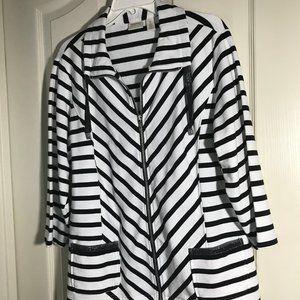 Zenergy striped 3/4sleeve jacket